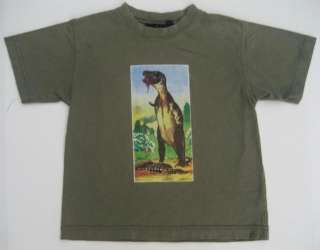 Mini Boden Boys Dinosaur Shirt Top 5 6 Green T Rex Tee