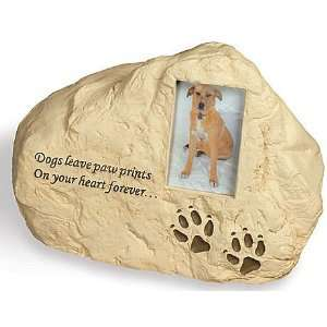 Dog Paw Prints Rock Polystone Urn