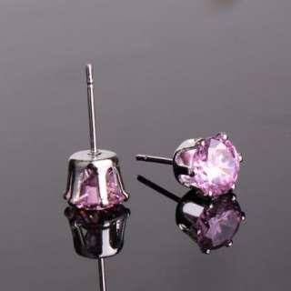 Classic 18k GF diamond cut pink sapphire stud earring