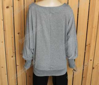 Lady Long Sleeve Batwing Dolman Casual Tops T Shirt Blouses New