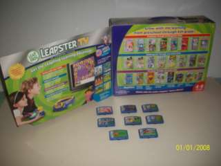 LEAP FROG, LEAPSTER TV, LEARNING SYSTEM, 8 EDUCATIONAL GAME CARTRIDGES