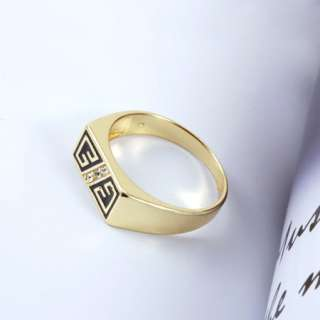 Brilliant 9K Gold Filled Mens Ring.Clear Swarovski Crystal,New Size9