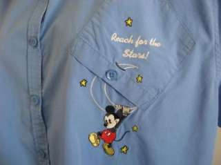 DISNEY Mickey Mouse Pluto Reach for the Stars Embroidered Shirt