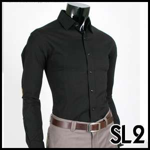 High Quality Black Slim Fit Mens Dress Shirts US size M