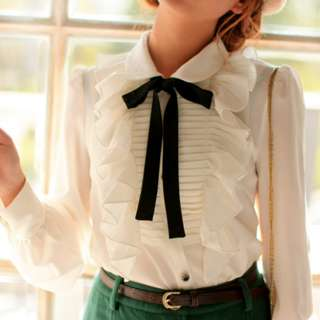New womens girls White Ruffle Pleat Front Top Shirt Blouse With Tie