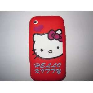 Phone 3G 3GS light weight Heart Hello Kitty Silicone Case / Skin Red