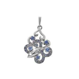 Zandra Rhodes Light Rose Blue Swarovski Crystal Pendant
