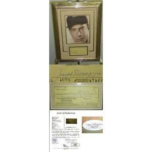 HOF Joe Dimaggio Framed Signed Check Display JSA LOA   MLB