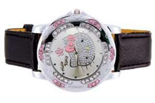Ladies Watch HELLO KITTY CRYSTAL Black Leather Wristband Quartz USA