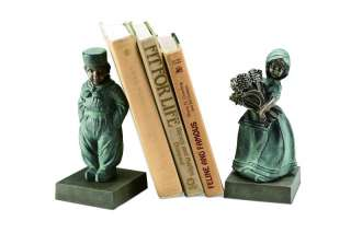 Pair Verdi Green Verdigris Aluminum Dutch Boy Girl Bookends Book Ends