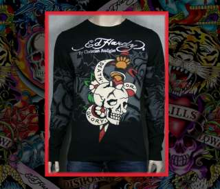 ED Hardy Mens Death or Glory D.O.G. t shirt LONG SLEEVE