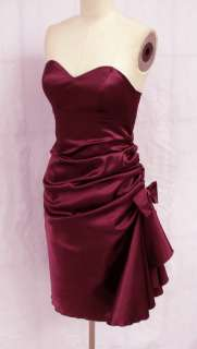 BL1296 PURPLE SIDE PLEATED STRAPLESS PADDED BRIDESMAID WEDDING PARTY