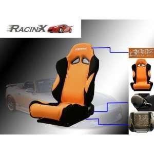 Orange with Black Universal Racing Seats   Pair Automotive