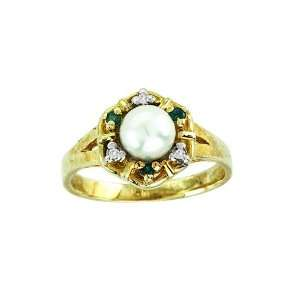 Diamond, Emerald & Pearl Ring 14K Yellow Gold Jewelry