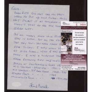 Frank Crosetti Ruth Did Not Call Shot Signed Letter JSA   MLB Cut