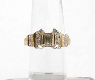 IMPRESSIVE 14k GOLD PRINCESS CUT DIAMONDS RING MOUNTING