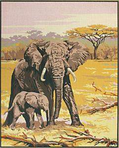Tapestry/Needlepoint Canvas   Elephants   with 2 Free Skeins of Wool