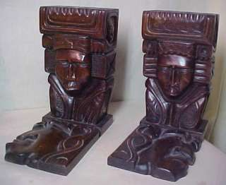 Hecho Amano Carved Wood Art Deco Modern Maya Bookends