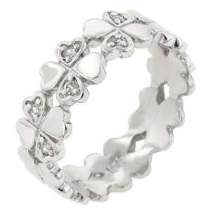 White Gold Bonded .925 Sterling Silver Heart Eternity Ring Jewelry