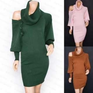 Free Ship Knit Turtleneck Open One Shoulder Long Sleeves Sweater Dress