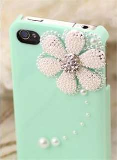 Cute Blue Daisy Deco Bling Pearl Sweet Case Cover Saver for iPhone 4