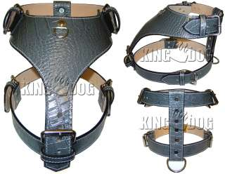 Large Gator Leather Dog Harness Plain Pitbull Choose From 9 Colors