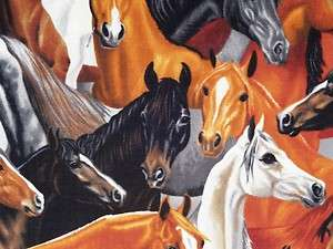 New Western Horses Country Animal Fabric BTY Timeless Treasures Brown
