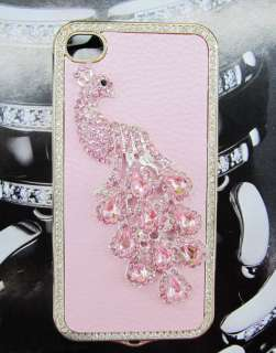 Pink Lady Little Peacock Bling Diamond Crystal Case Cover for iPhone