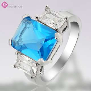 FASHION PERSONALITY AQUAMARINE TOPAZ RHINESTONES WHITE GOLD GP RING 6
