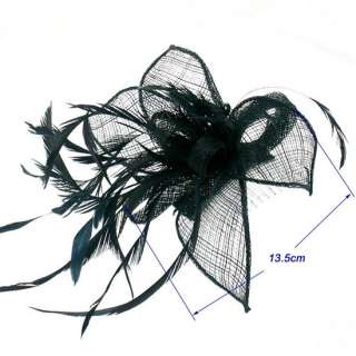 Black Sinamay Feather Formal Fascinator Hat Hair Comb