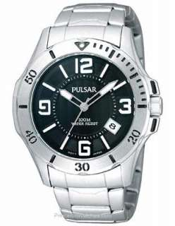 Pulsar Mens Active Sport Watch   Black Dial   Silver Tone Design