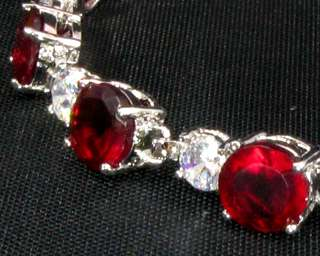Fashion Jewelry Xmas Gift Red Ruby White Gold GP Tennis Bracelet Hand