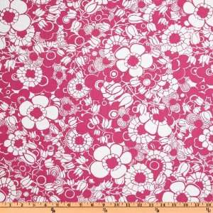 44 Wide Petal Pushers Floral Pink Fabric By The Yard