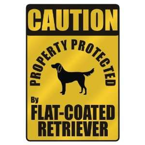 PROPERTY PROTECTED BY FLAT COATED RETRIEVER  PARKING SIGN DOG