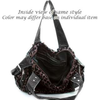 Stone washed animal print hobo bag w/ zipper & buckle detail   black