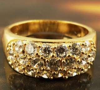 White Topaz Gem 14k Real Yellow Gold Filled Finger Ring Sz6