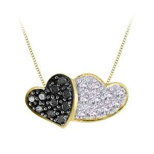 . Black and White Diamond Heart Pendant with Chain Katarina Jewelry