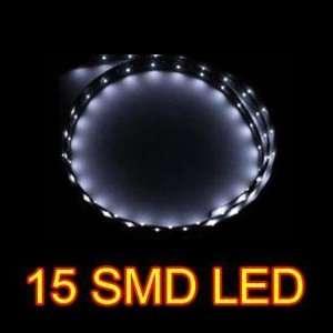 White 30cm 15 SMD LED Flexible Strip Car Grill Light Lamp