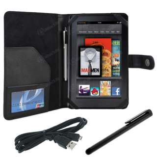Folio Carry Cover Case + Stylus + USB Charge Cable Cord for