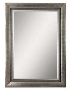 Rectangular Frame Wall Mirror Oversized Wood Antiqued Silver Leaf