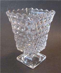 Fostoria American Crystal Glass Square Urn Flower Vase