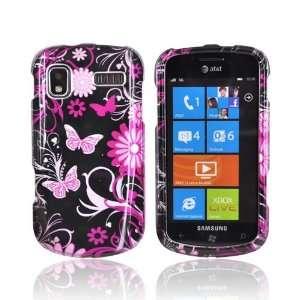 PINK FLOWER BLACK For Samsung Focus Hard Case Cover
