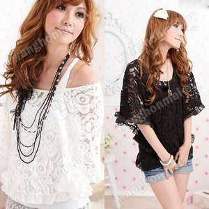 Korea Women Lace Top Sexy Off Shoulder T Shirt Tank 2 Pieces