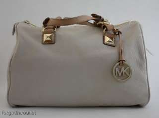 Michael KORS Large Vanilla Leather GRAYSON Satchel BAG $348