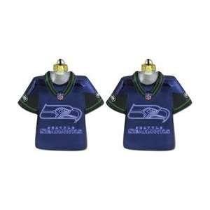 SC Sports Seattle Seahawks Laser Jersey Ornament   Set of 2   Seattle