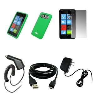 EMPIRE Neon Green Silicone Skin Cover Case + Screen Protector + Car