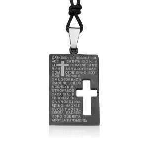 Ziovani 2 tone Cut out Cross The Lords Prayer Tag Stainless Steel