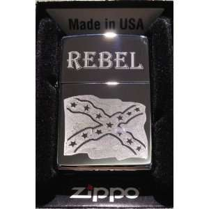 Zippo Custom Lighter   Rebel Confederate Flag Dixie RED Neck Logo High