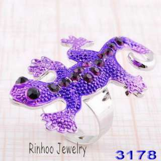 mix house lizard adjustable rings white gold plated 6pcs free