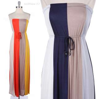 Strapless Multi Color Block Full Long Maxi Dress Front Ribbon Stretch